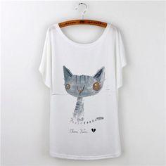 Owl Animal Print Harajuku 2017 Loose Tshirt Women T-shirt plus size Lady Tops Short Sleeve O-neck Casual Tee Shirt Female White