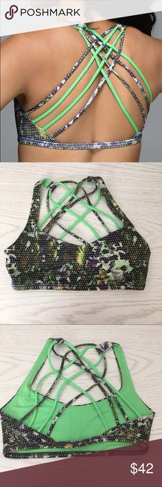 Lululemon Free to be Wild Bra Green with fun print • extremely comfortable straps • looks excellent with tanks, open back tops or by itself • excellent condition • size 6 lululemon athletica Tops