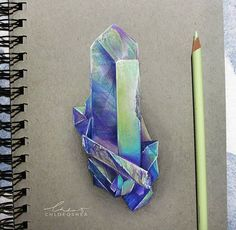 Pencil Art Little gem ~(Drawn on Strathmore toned paper with Polychromos and Prismacolor pencils) - Gem Drawing, Painting & Drawing, Crystal Drawing, Drawn Art, Toned Paper, Art Drawings Sketches, Horse Drawings, Cute Drawings, Polychromos