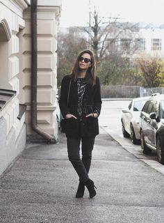 Sequin top, boyfriend jeans.