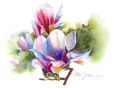 Colorful Magnolia Painting  - Colorful Magnolia Fine Art Print