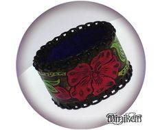 Items similar to Wild Rose Leather Bangle Cuff, Handmade gypsy Cherry red / Black on Etsy Gypsy Style, Leather Craft, Aud, Red Black, Bangles, Sculpture, Inspired, Trending Outfits, Retro