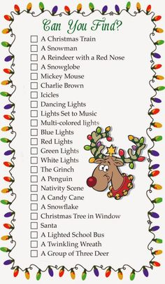 Here's an idea for this Christmas Season: a local Christmas Light Scavenger Hunt! You'll enjoy looking at Christmas lights even more with specific things to Holiday Games, Christmas Party Games, Christmas Activities, Christmas Traditions, Holiday Fun, Christmas Crafts, Christmas Ideas, Holiday Ideas, Teen Activities