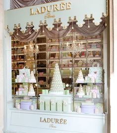 Ladurée is a luxury patisserie originally from Paris, France. Serving all kinds of sweets, Ladurée is most well known for their colorful macarons. Macarons, Laduree Macaroons, French Macaroons, Laduree Paris, Store Front Windows, Shop Windows, Vintage Bakery, I Love Paris, Paris Style
