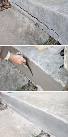 Easy Home Repair Hacks - Repair Cracked Concrete - Quick Ways to Easily Fix Broken Things Around The House - DIY Tricks for Home Improvement and Repairs - Simple Solutions for Kitchen, Bath, Garage an Home Improvement Loans, Home Improvement Projects, Home Projects, Home Renovation, Home Remodeling, Kitchen Remodeling, Basement Renovations, Diy Hacks, Diy Videos