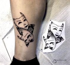 masks_tattoo #tattoo #masktattoo #geometrictattoo #roses #blackandwhitetattoo #illustration #madeleinedoll #girl #inkedgirl #ink #designtattoo #blackandwhite