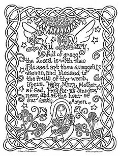 catholic printables] | Hail Mary Catholic Coloring Page | Catholic Crafts & Coloring