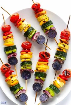 Top 10 Healthy rainbow food ideas - rainbow veggie skewers from Gimme Some Oven