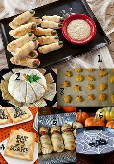 Scarborough FoodFair: Halloween Appetizer Round Up - HUGE list of stuff! Creepy Halloween Food, Theme Halloween, Halloween Food For Party, Easy Halloween, Holidays Halloween, Halloween Treats, Halloween Buffet, Spooky Treats, Halloween Foods