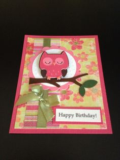 Cricut Birthday Cards | Birthday card. Owl is from Cricut Create a Critter cartridge | Cricut