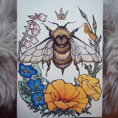 """I finished up this lovely queen bee commission painting today"""