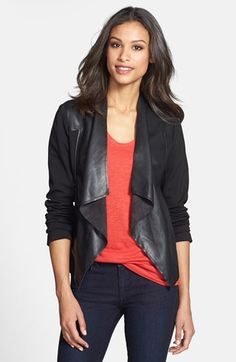 KUT from the Kloth 'Lincoln' Faux Leather Drape Front Jacket available at #Nordstrom