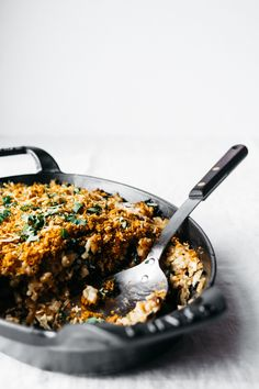 Cauliflower and Kale Gratin with Caramelized Onions and Thyme | TENDING the TABLE