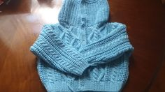 Brigt Blue Pure Cashmere Aran knit baby sweater hoodie - 20 Hoodie Hand Knitted in Scotland Size 20 - for 1 year old