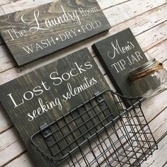 Your place to buy and sell all things handmade Laundry Room Sign Trio Lost Socks Basket AND Mom's Tip