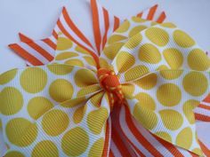 Yellow and orange hair bow Candy corn by BurstingCocoonStudio