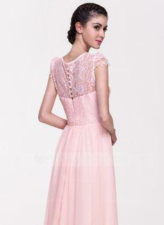 A-Line/Princess Scoop Neck Floor-Length Chiffon Lace Bridesmaid Dress (007068153)