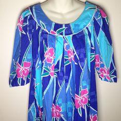 Vtg Hilo Hattie Full Length Muumuu L Large Tapa Hawaiian Aloha Floral Maxi Dress  | eBay