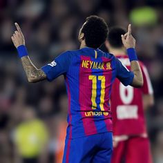 "barcelonaesmuchomas: ""Neymar celebrates after scoring his team a goal during the La Liga match between FC Barcelona and Real Sporting de Gijon at Camp Nou stadium on March 1, 2017 in Barcelona. """