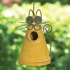 Ceramic Yellow Cat Birdhouse