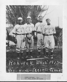 Rohwer Brothers baseball players in Dixon Dairy City uniforms in 1913. From left. Ray, Hans, Eggert, Claude. DPL Archives #2005.3.17
