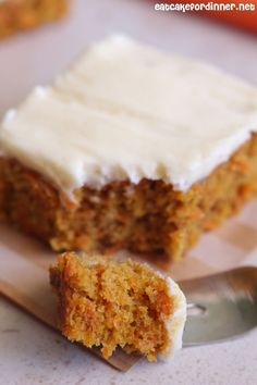 Carrot Cake Bars with Cream Cheese Frosting | Eat Cake For Dinner | Bloglovin'