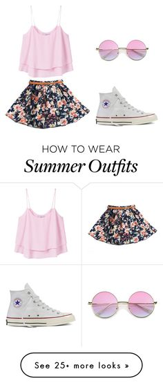 """Summer Outfit"" by amari-lashae on Polyvore featuring MANGO, Converse and Floralskirts"