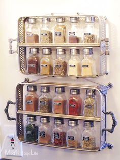 From Mod Vintage Life, a spice rack made from vintage silver casserole servers. See more great ideas at http://decoratingfiles.com/2012/06/creative-diy-and-nifty-storage-solutions/