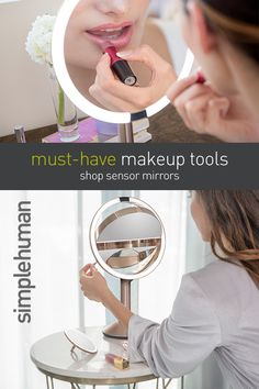 want that perfect look at all times? the sensor mirror lights up as your face approaches and simulates natural sunlight for the most color-corrected view. mirrors are wireless and rechargeable with multiple mag Beauty Tips For Teens, Beauty Tips For Skin, Diy Beauty, Beauty Skin, Beauty Makeup, Eye Makeup, Beauty Hacks, Health And Beauty, Flawless Beauty