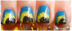 Super fun sunflower nails by A Girl and Her Polish.