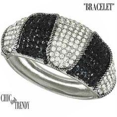 HIGH END BLACK & CLEAR BANGLE BRACELET RHINESTONE CRYSTAL FORMAL WEDDING TRENDY #Unbranded #Bangle