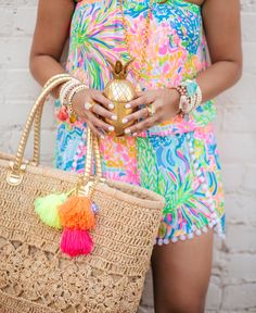 haute off the rack, summer style, colorful romper, Lilly Pulitzer Daisy Romper, Straw Beach tote, tassel beach tote, gold pineapple tumbler, beaded bracelets, tassel bracelets, julie Vos rings, @lillypulitzer