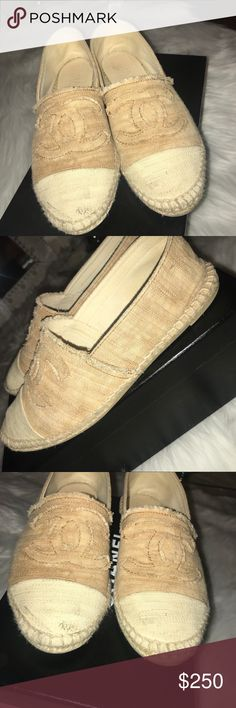 Chanel Espadrilles Beige/White Chanel Espadrilles. Size 38 (equivalent to size 7, little tight by the toe) Worn, kept in good condition. A few scuffs. Box included. CHANEL Shoes Espadrilles