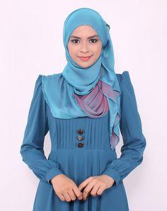 Pleated dress by www.edz.com.my Abaya Fashion, Modest Fashion, Shawl Cardigan, Tunic, Hijab Tutorial, Islamic Fashion, Islamic Clothing, Blue Dresses, Pleated Dresses