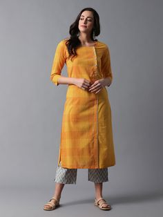 Mustard Yellow Checkered Mangalgiri Cotton Overlap Kurta with Grey Chevron Printed Cotton Jacquard Pants- Set of 2 Salwar Designs, Simple Kurti Designs, Kurta Designs Women, Kurti Designs Party Wear, Dress Neck Designs, Blouse Designs, Kurta Patterns, Kurta Neck Design, Indian Designer Suits