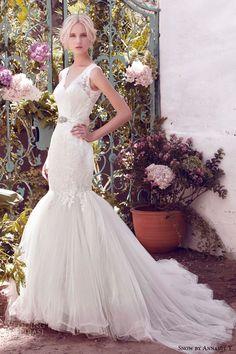 snow by annasul y 2016 bridal gowns sleeveless v neck thick lace strap embellished bodice elegant mermaid wedding dress chapel train (sa2025b) mv