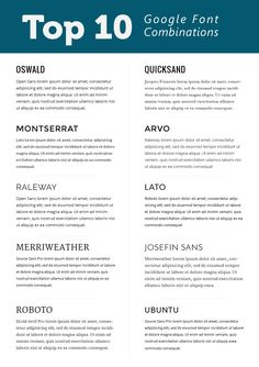 Top 10 Google font combinations #webfont #typography