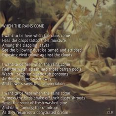 When the rains come. My poem written about Griffith park in Los Angeles
