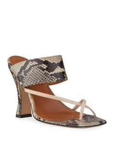 Paris Texas Python-print Crossover Thong Sandals In Neutral Pattern Mule Sandals, Shoes Sandals, Heels, Paris Texas, Python Print, World Of Fashion, Crossover, Calf Leather, Luxury Branding