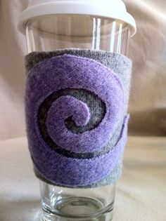recycle wool sweaters  | Recycled wool sweater coffee cozy sleeve Purple Grey ... | Recycle cr ...