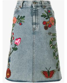 GUCCI Floral & Snake Embroidered Denim Skirt. #gucci #cloth #