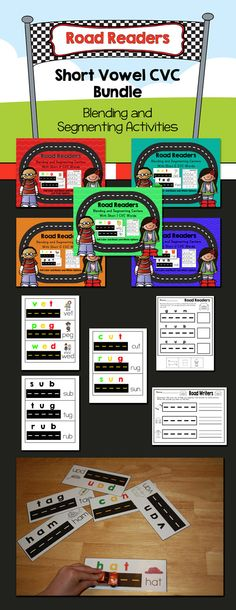 Blending and Segmenting with toy cars.  This is a bundle of all the short vowel packets: a, e, i, o, and u.  Save $5.00 when buying the bundle.