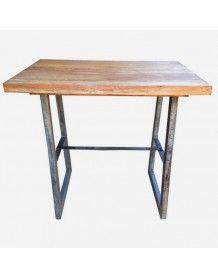 Table haute rectangulaire en acier et teck naturel - GM   Dinning ...