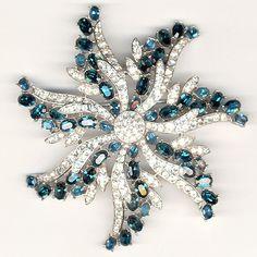Trifari 'Alfred Philippe' Sapphire and Diamond Starflower Pin