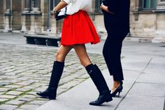 red skirt, boots, blousey top