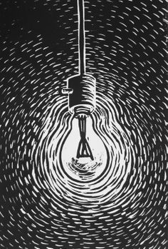 """light bulb"" linoleum cut print"