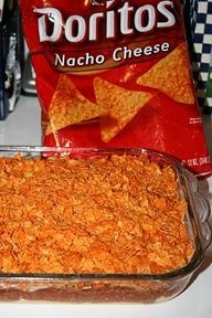 Taco Bake  Ingredients:  1 lb. hamburger  1 pkg. taco seasoning  8 oz. sour cream  1 pkg. crescent rolls (8)  1 can tomato sauce  1 can diced tomatoes (optional)  1 c. shredded cheese  Dorito chips  1. Brown hamburger and drain.    2. Add taco seasoning, tomato sauce, tiny bit of water, and diced tomatoes. Simmer..  3. In 9x13 dish, press out crescent rolls and roll them to form crust.  4. Layer h