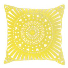 Mayan Sphere Yellow Cushion - Cushions, Throws and Quilts Yellow Home Accessories, Yellow Home Decor, Decorative Accessories, Decorative Items, Yellow Throw Pillows, Yellow Cushions, Toss Pillows, Accent Pillows, Monochrome Interior