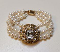 Bridal Statement Bracelet - Vintage Rhinestones, Freshwater Pearls, 14k Gold