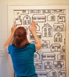 """How About Orange: How to """"wallpaper"""" using fabric"""